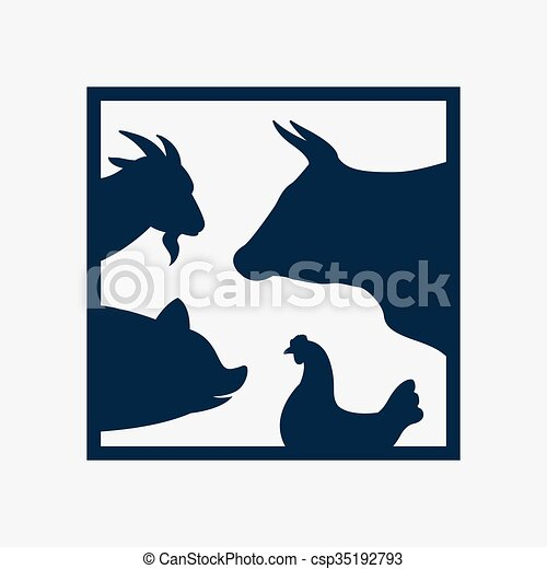 Vector group of farm animal in the frame - cow, pig, chicken, goat ...