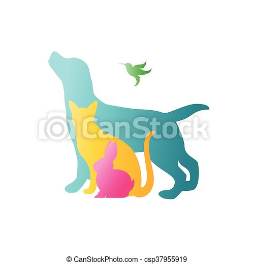 Vector group of pets - Dog, cat, rabbit,  humming bird isolated on white background. / Vector pets for your design. - csp37955919