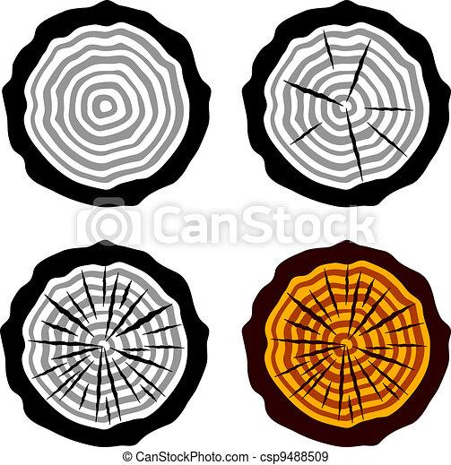 vector growth rings tree trunk symbols - csp9488509