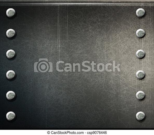 vector grunge background  metal plate with screws - csp9076446