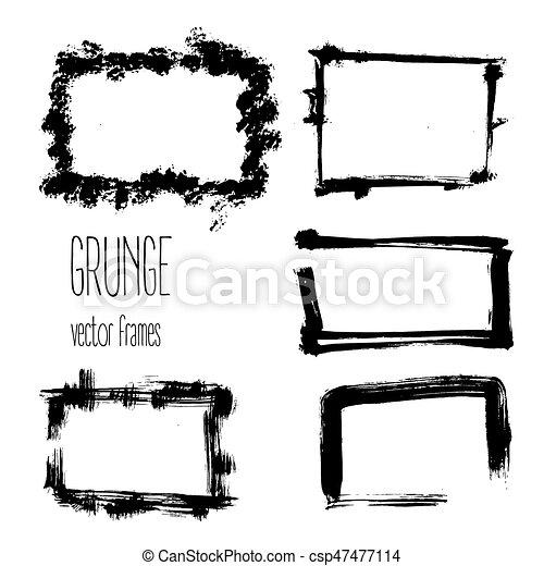 Vector grunge rectangle frames. Hand drawn art collection. - csp47477114