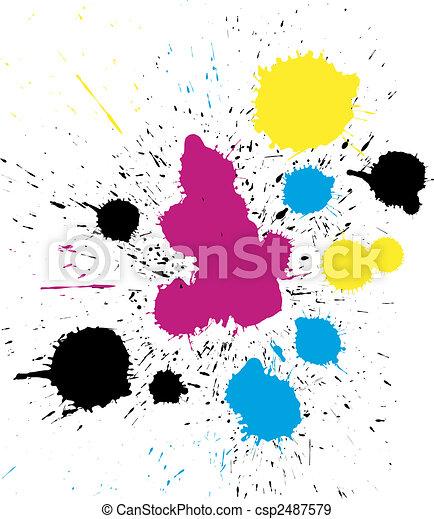 vector grungy colorful CMYK paint drops - csp2487579