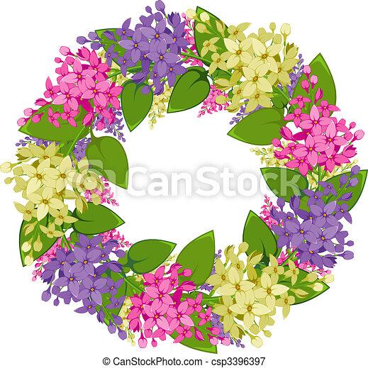 La corona Vectora de ramitas de lila - csp3396397