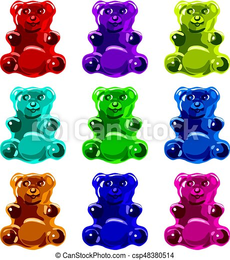 vector gummy bear candies isolated on white background collection