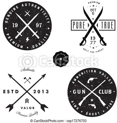 Vector Gun and Sword Logo and Badge Set - csp17276703