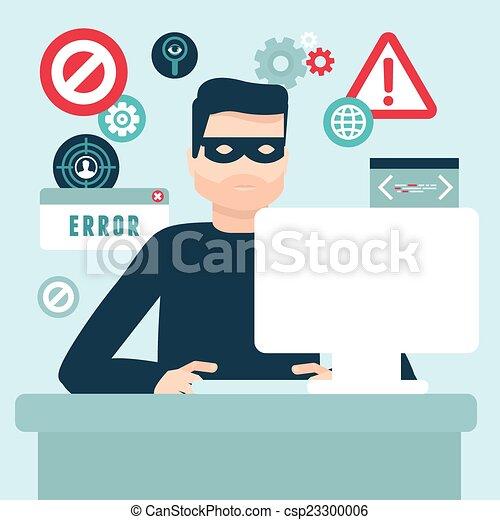 Vector hacker illustration in flat style - csp23300006