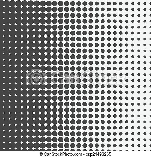 Vector halftone dots. Black dots on white background. - csp24493265