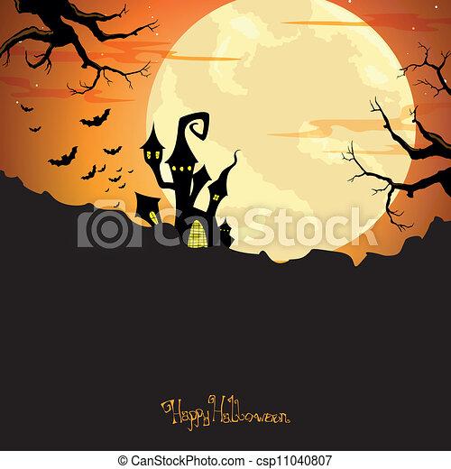Vector Halloween Background with Castle - csp11040807