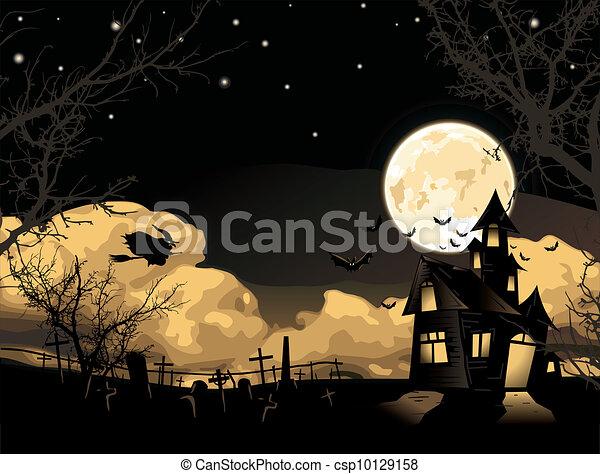 Vector. Halloween card - csp10129158