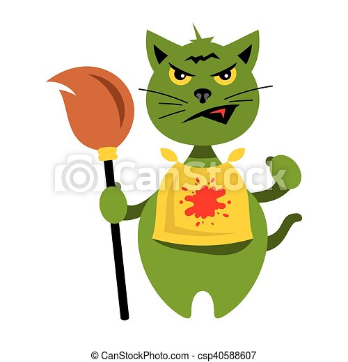 Vector Halloween Cat With Witch Broomstick Cartoon Illustration