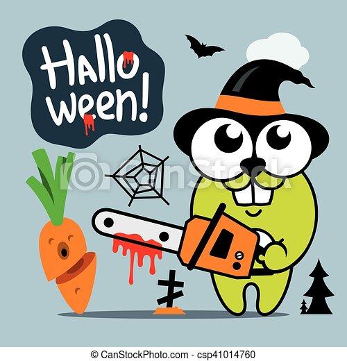 Vector Halloween Crazy Rabbit in witch hat Cartoon Illustration. - csp41014760