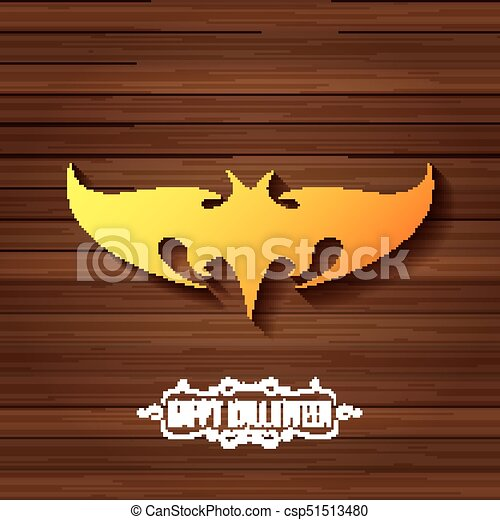 Vector Halloween Golden Bat Animal Silhouette Label On Dark Old Vintage Wooden Plate Background With Calligraphic Text