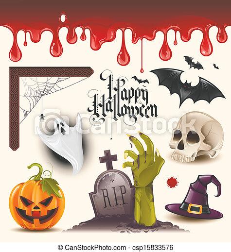 iconos del vector de Halloween - csp15833576