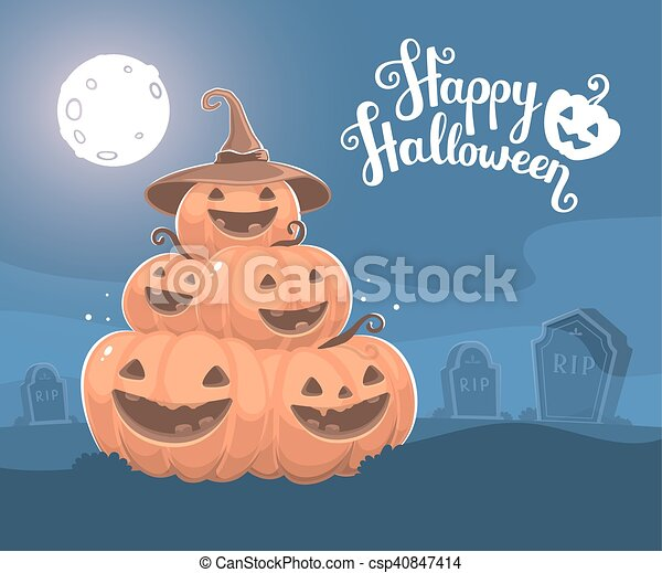 Vector halloween illustration of pi - csp40847414