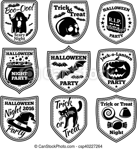 vector halloween labels set with pumpkin skull ghost cauldron