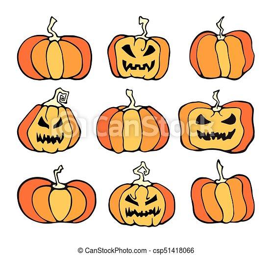 Vector Halloween Pumpkin Comic Color Set Cartoon Horror Collection
