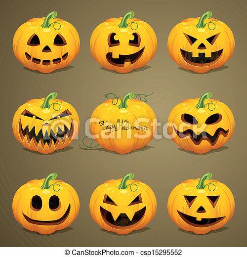 Vector Halloween Pumpkins - csp15295552