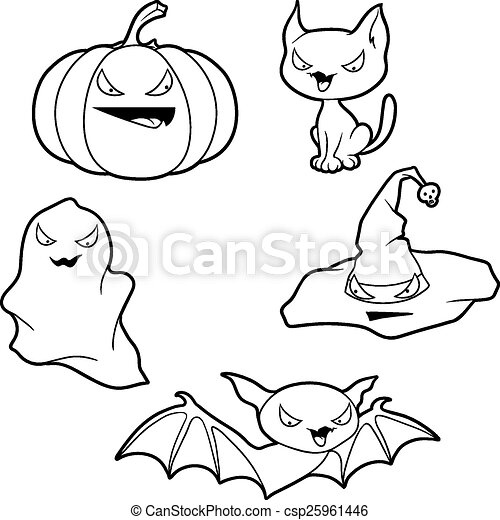 Colección de vectores de objetos relacionados con Halloween y criaturas - csp25961446
