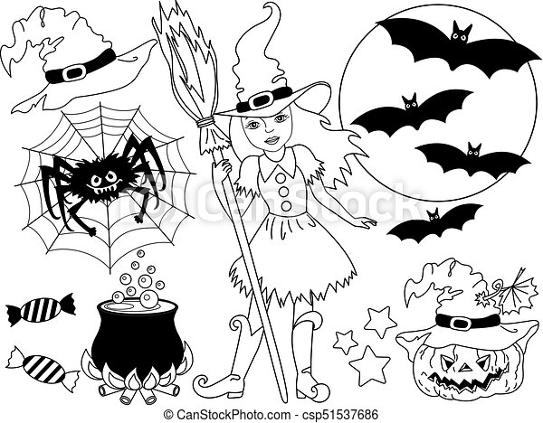 Halloween Vector Black And White.Vector Halloween Set With Witch Moon Spider Pumpkin And Bats