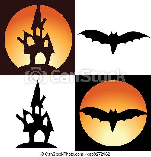 Vector halloween symbols - castle and bat vector illustration ...