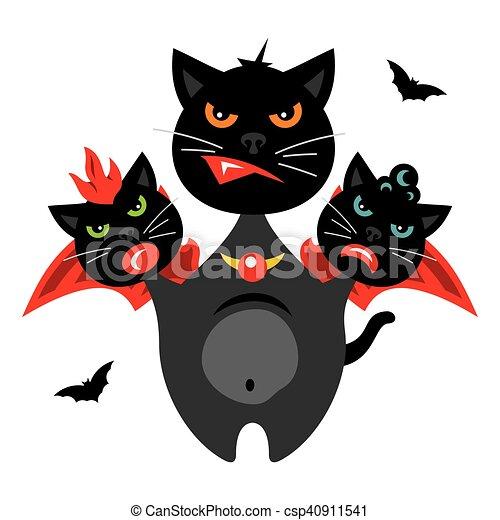 Vector Halloween Three-headed Dragon cat Cartoon Illustration. - csp40911541