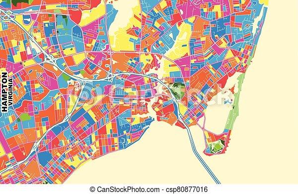 vector, hampton, estados unidos de américa, colorido, virginia, mapa - csp80877016