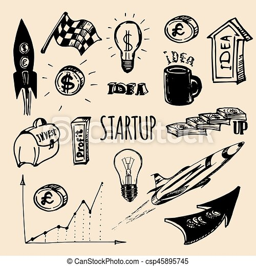 Vector hand drawing illustration set of different startup elements. - csp45895745
