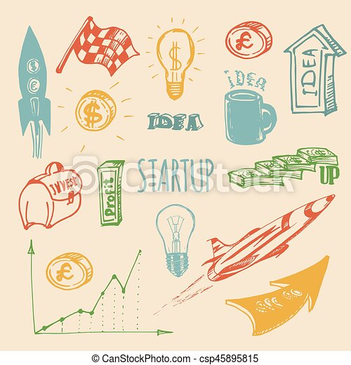 Vector hand drawing illustration set of different startup elements. - csp45895815