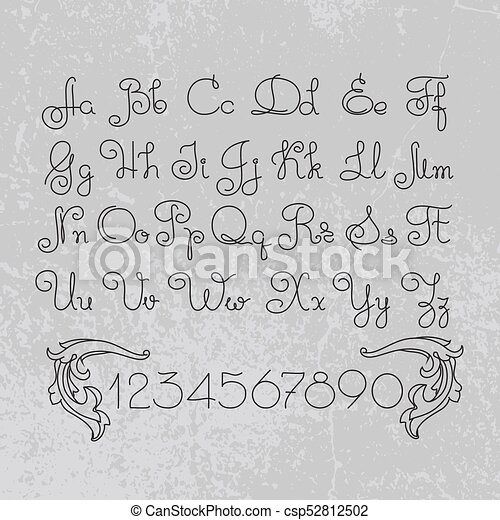 Vector hand drawn alphabet  Lines font design