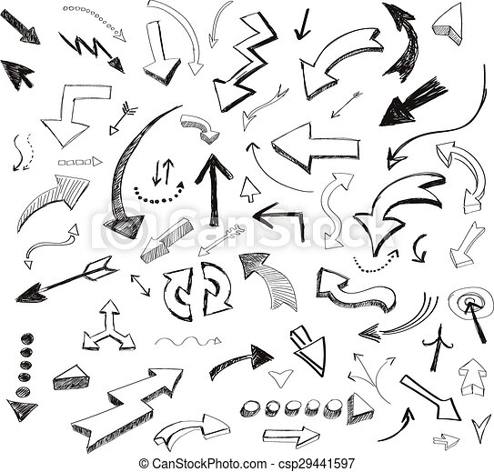 vector hand drawn arrows icons set on white - csp29441597