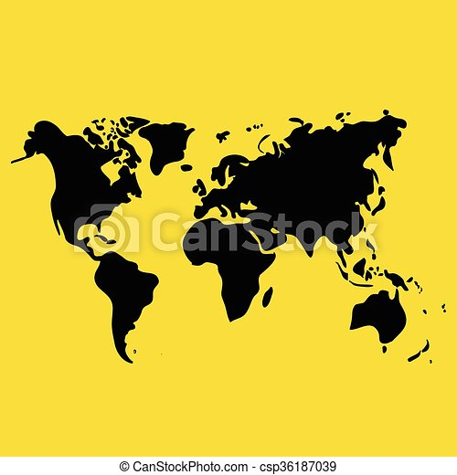 Vector hand drawn black world map on yellow background vectors vector hand drawn black world map on yellow background doodle illustration gumiabroncs Images
