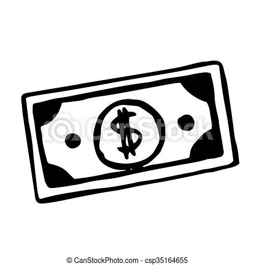 vector hand drawn cartoon dollar bill doodle object vector rh canstockphoto com Gold Dollar Sign Clip Art Green Dollar Sign Clip Art