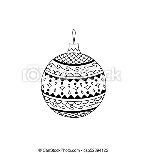 vector hand drawn christmas ball toy illustration csp