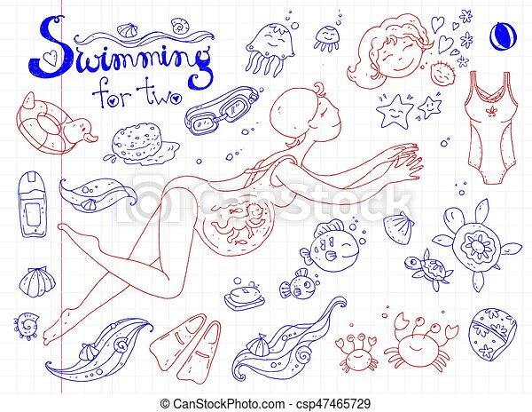 Vector hand drawn collection. Mom and baby. Swimming for pregnan - csp47465729