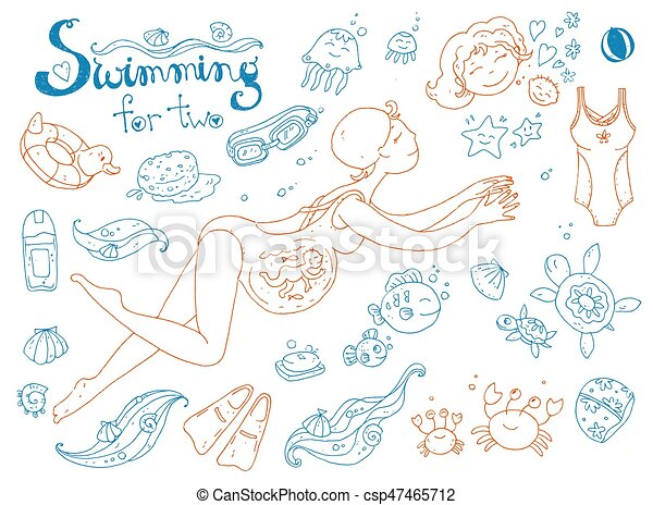 Vector hand drawn collection. Mom and baby. Swimming for pregnan - csp47465712