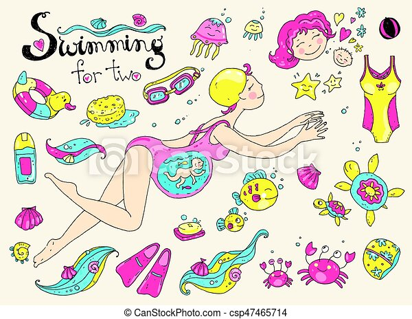Vector hand drawn collection. Mom and baby. Swimming for pregnan - csp47465714