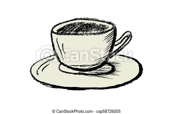 vector hand drawn cup of tea or coffee hand drawn cup of tea or coffee isolated on white background charcoal vector drawing https www canstockphoto com vector hand drawn cup of tea or coffee 58729255 html