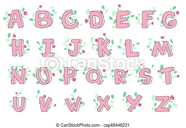 Vector Hand Drawn Cute Alphabet With Floral Decoration Font Letters 3d Doodle Abc For Kids