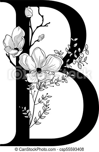 ff539b21a7a8 Vector hand drawn floral b monogram and logo. Vector hand drawn ...