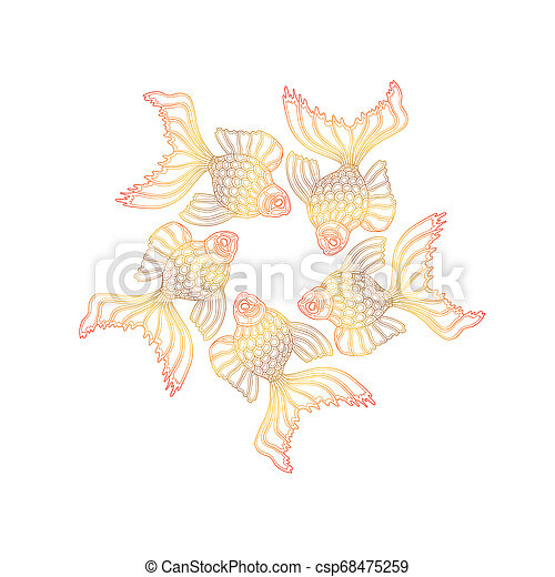 Vector hand drawn goldfishes floating in a circle. Line art design goldfish - csp68475259