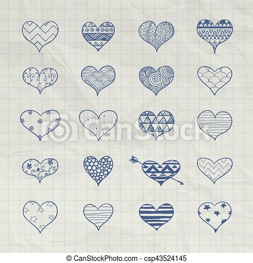 Vector Hand Drawn Heart Shapes With Doodle Patterns Set Of Hand Beauteous Doodle Patterns