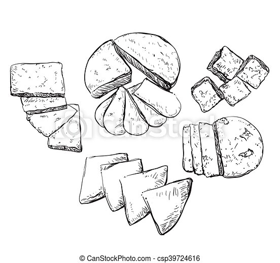 Vector hand drawn illustration with cheeses . - csp39724616