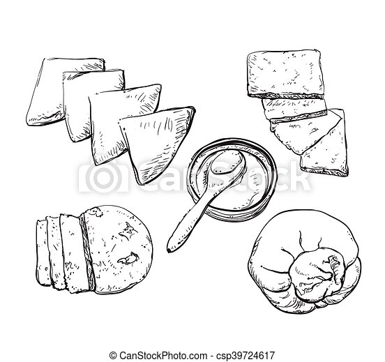 Vector hand drawn illustration with cheeses . - csp39724617