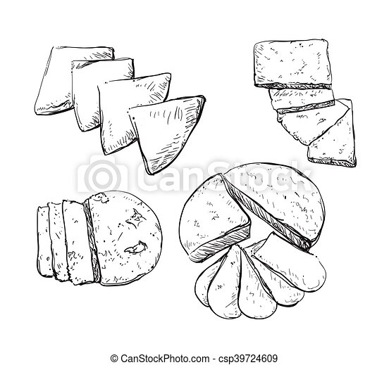 Vector hand drawn illustration with cheeses . - csp39724609