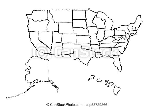 Vector hand-drawn map of USA
