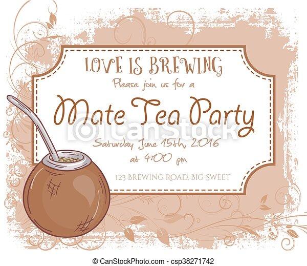 Vector Hand Drawn Mate Tea Party Invitation Card Vintage Frame