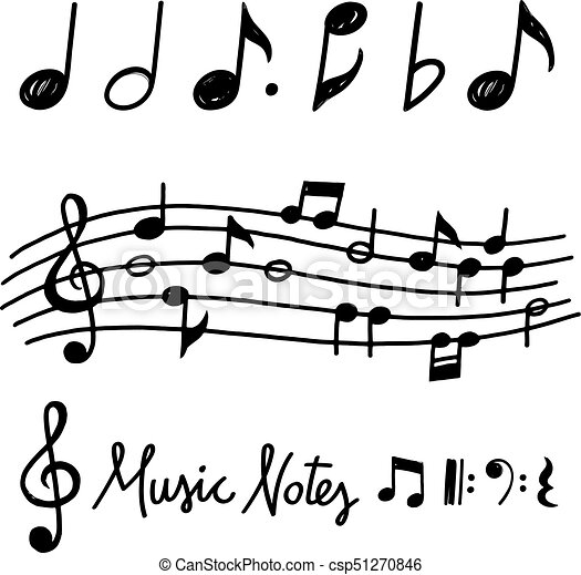 Vector Hand Drawn Music Notes Hand Drawn Chalk Grunge Notes And