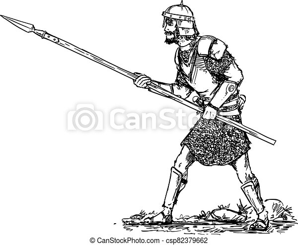 Vector Hand Drawn of Fantasy or Ancient Warrior in Armor and Helmet and With Spear Walking Ready to Attack - csp82379662