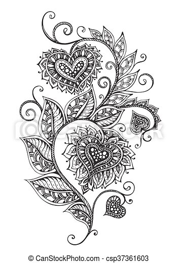 vector hand drawn ornate floral pattern in zentangle style - Zentangle Muster
