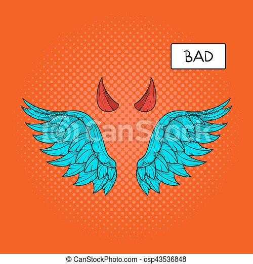 Vector Hand Drawn Pop Art Illustration Of Devil Wings And Eps